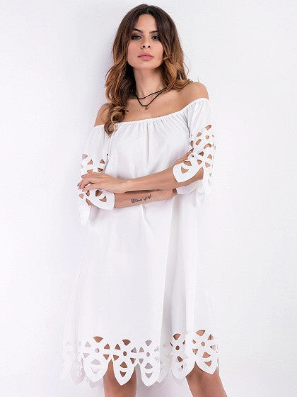 White Off Shoulder Cut Out Detail Shift Dress