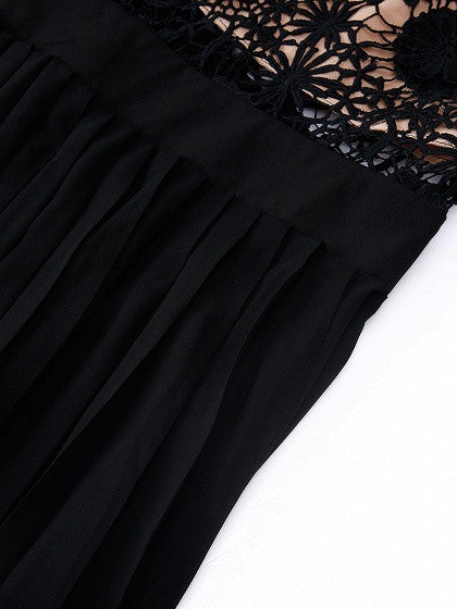 Black Lace Spliced Top Long Sleeve Pleated Maxi Dress