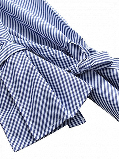 Blue Stripe Eyelet Detail Bow Tie Flared Sleeve Longline Shirt