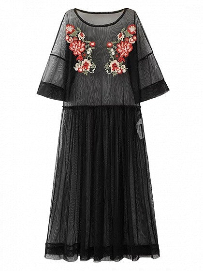 Black Embroidery Floral Sheer Mesh Dress