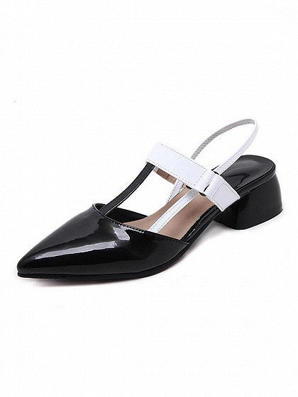 Black Pointed Contrast Strap Leather Look Shoes