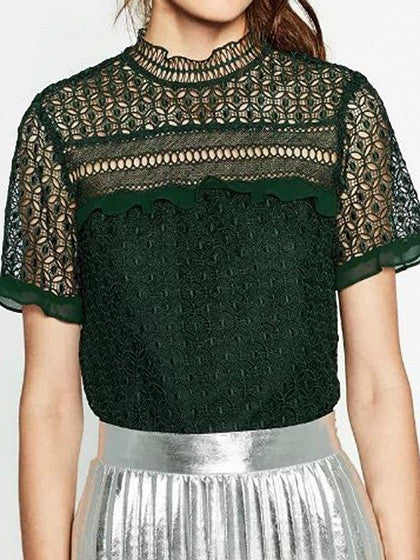 Dark Green Sheer Lace Ruffle Trim Cut Out Short Sleeve Blouse Top