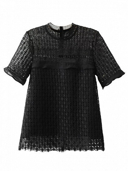 Black Sheer Lace Ruffle Trim Cut Out Short Sleeve Blouse Top