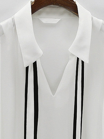 White Bow Tie Front Chiffon Long Sleeve Shirt