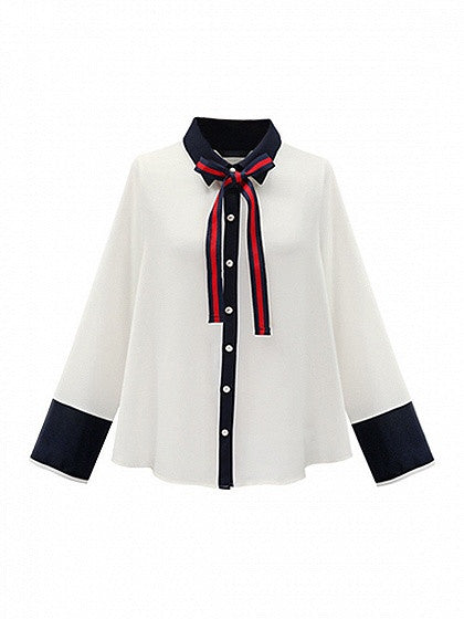 White Bow Tie Collar Contrast Trim Long Sleeve Shirt