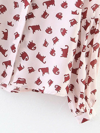 Pink Cat Print Tie Front Long Sleeve Shirt