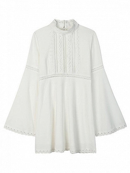 White High Neck Cut Out Lace Paneled Flared Sleeve Babydoll Dress