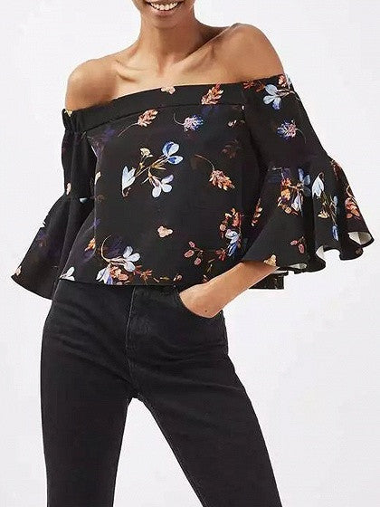 Black Floral Off Shoulder Flared Sleeve Blouse Top