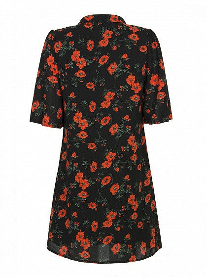 Black Floral Print Lace Up Halfsleeve Loose Shirt Dress