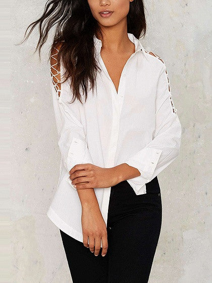 White Lattice Shoulder Long Sleeve Shirt