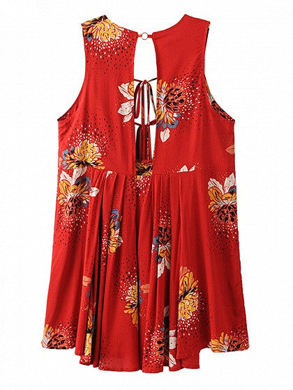 Red Plunge V-neck Sleeveless Floral Lace Up Back Split Pleated Mini Dress Top
