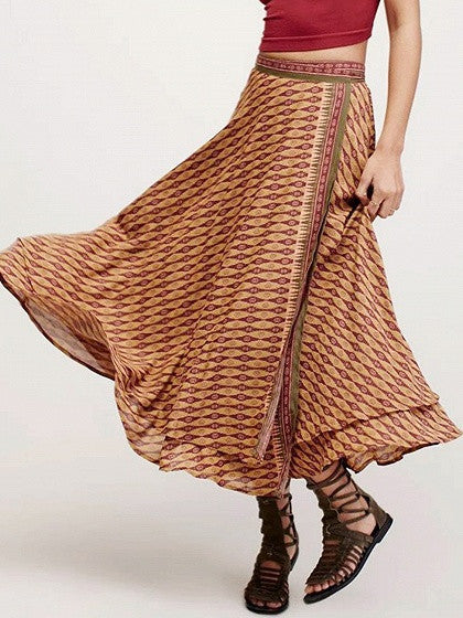 Multicolor High Waist Layered Side Split Wrap Boho Skirt