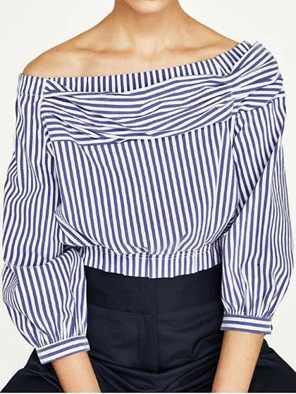 Blue Stripe Off Shoulder Ruched Front Crop Top