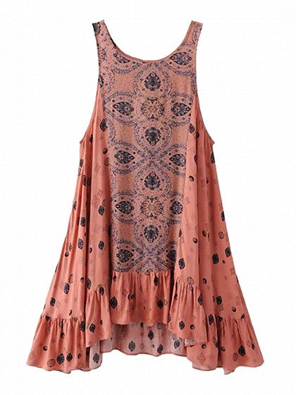 Multicolor Ruffle Trim Cut Out Back Sleeveless Dress
