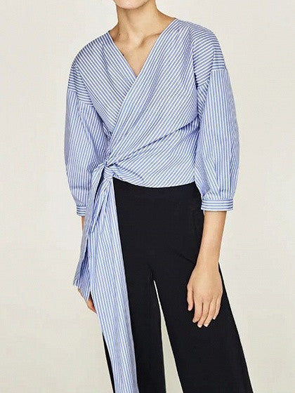 Blue Stripe Wrap V-neck Tie Waist Blouse