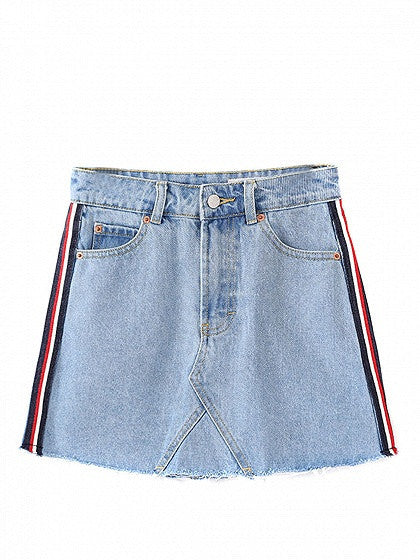 Blue High Waist Contrast Stripe Mini Denim Skirt
