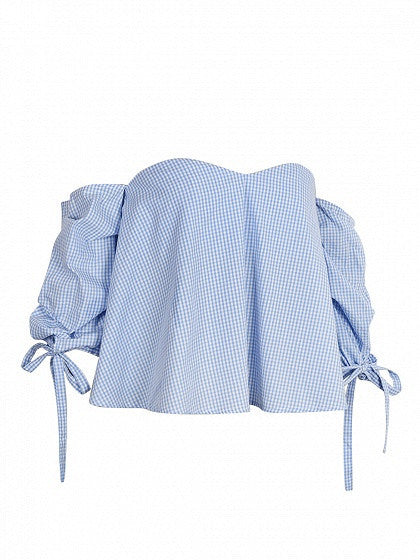 Blue Gingham Sweetheart Tie Cuff Bandeau Top