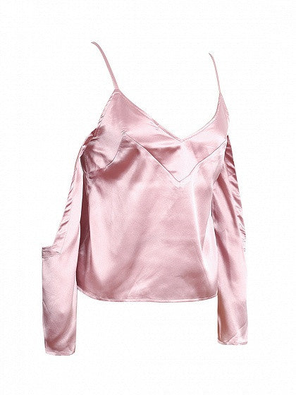 Pink V Neck Cold Shoulder Spaghetti Strap Silky Cami Top