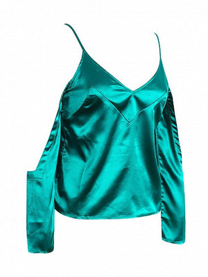 Green V Neck Cold Shoulder Spaghetti Strap Silky Cami Top
