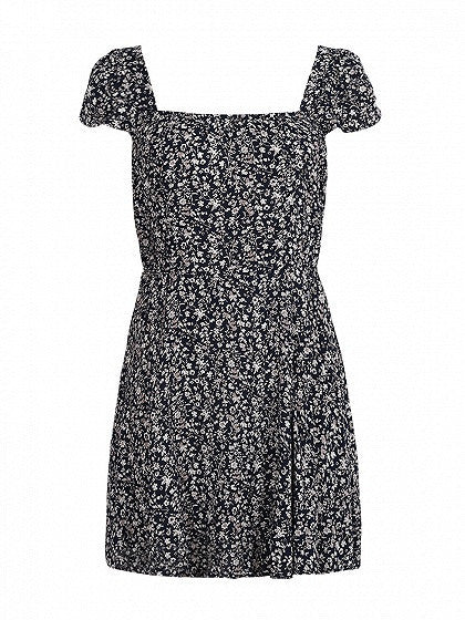 Navy Blue Square Neck Cap Sleeve Floral Print Tied Open Back Mini Skater Dress