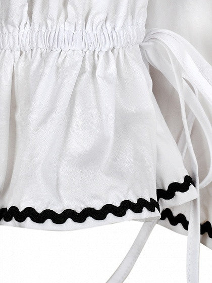 White Contrast Trim Off Shoulder Layered Ruffle Top