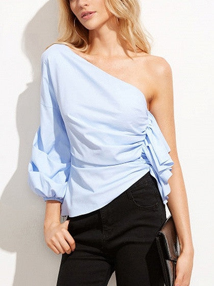 Blue One Shoulder Ruffle Top