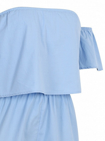 Blue Off Shoulder Ruffle Bandeau Romper Playsuit