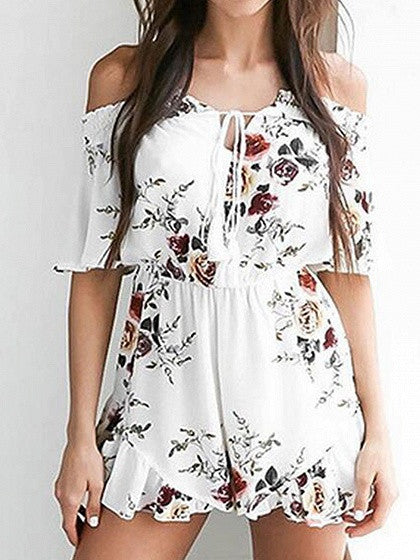 White Off Shoulder Floral Stretch Shirred Panel Romper Playsuit
