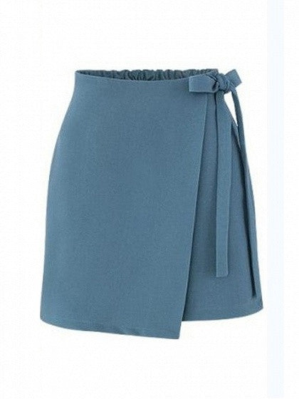 Blue Elastic Waist Side Tie Asymmetric Hem Mini Skirt