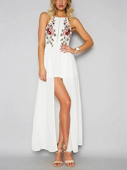 White Floral Embroidery Cross Back Split Maxi Dress