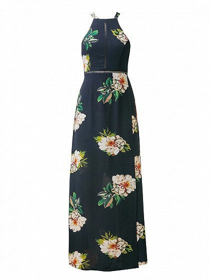 Navy Floral Print Open Back Split Maxi Dress