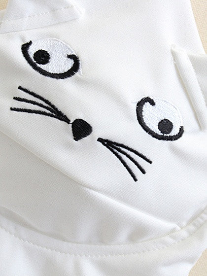 White Embroidery Cat Cropped Vest