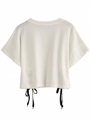 White Letter Print Lace Up Detail Short Sleeve Cropped T-shirt