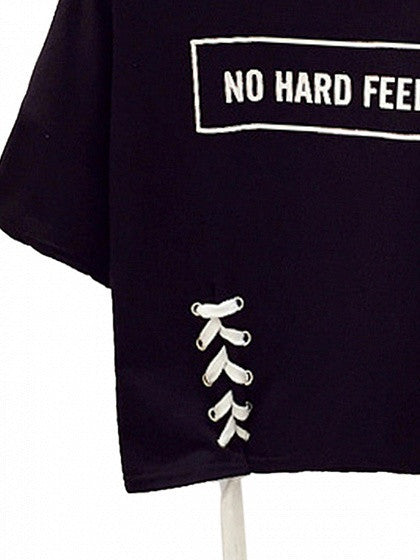 Black Letter Print Lace Up Detail Short Sleeve Cropped T-shirt