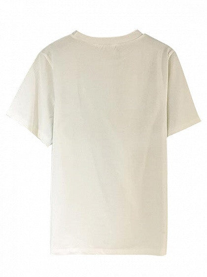 White Letter And Eye Print Short Sleeve T-shirt