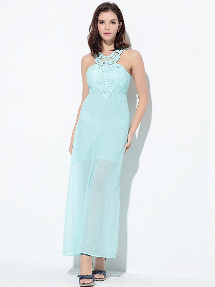 Blue Halter Cut Out Open Back Chiffon Maxi Dress