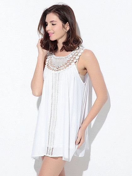 White Crochet lace Panel Sleeveless Mini Dress