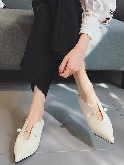 White Pointed Pearl Flat Loafer