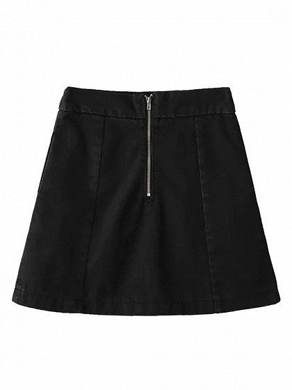 Black High Waist Embroidery Floral A-line Denim Skirt