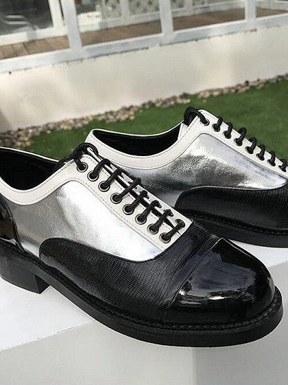 Silver Contrast Lace Up Brogue Shoes