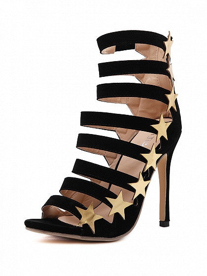 Black Star Strappy Heeled Sandal