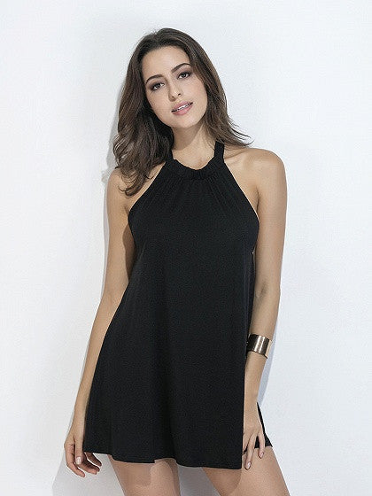 Black Halter Neck Open Back Mini Dress