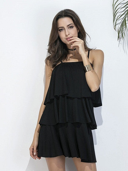 Black Ruffle Layered Cami Mini Dress