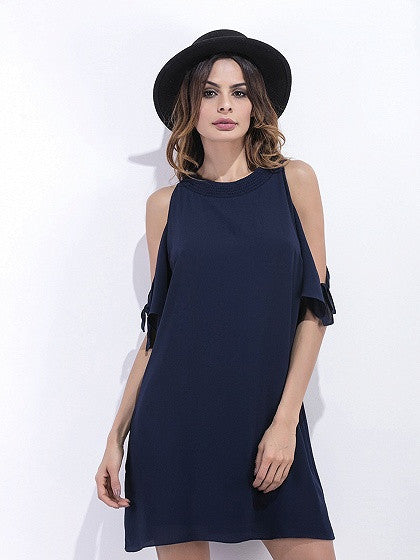 bdf878ce66 Navy Blue Cold Shoulder Chiffon Shift Dress