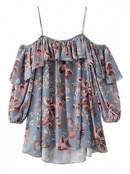 Multicolor Cold Shoulder Ruffle Detail Spaghetti Strap Blouse