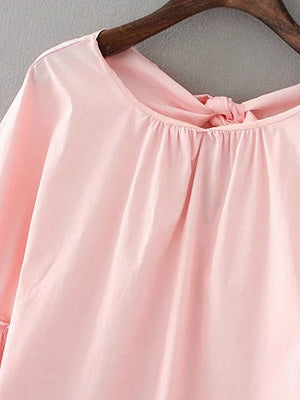 Pink Ruffle Bell Sleeve Bow Back Top