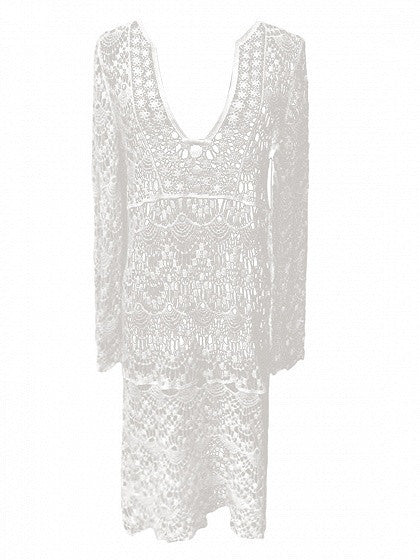 Beige Plunge Crochet Lace Long Sleeve Beach Dress