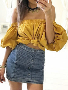 Yellow Off Shoulder Puff Sleeves Blouse