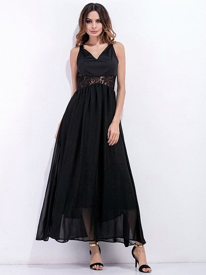 Black V-neck Lace Back Chiffon Maxi Dress