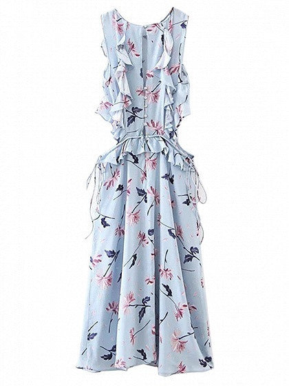 Blue Floral Ruffle Trim Cut Out Detail Sleeveless Dress